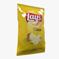 realistic chip bag 3d obj
