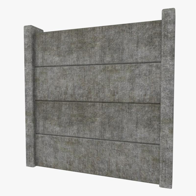 3d model concrete fence - Concrete fence models design ...