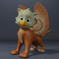 cute baby griffin rigged 3d 3ds