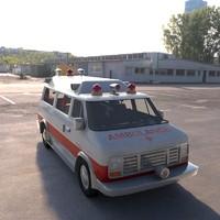 3d vintage ambulance
