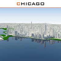 3d chicago cityscape