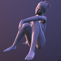 5 posed female characters 3d model