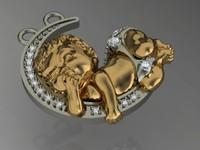 rhino baby pendant