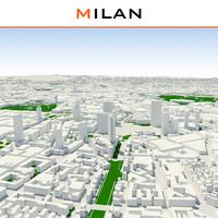 milan cityscape 3d max