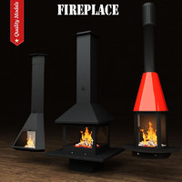 3d model realistic fireplace heating 13