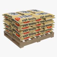 pallet cement bags 2 3d model