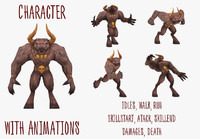 minotaur animations character 3d max