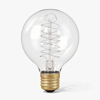 vintage spherical-shaped edison light bulb 3d model