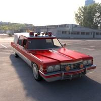old classic cadillac ambulance 3d max