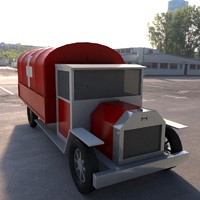 3d old basic truck ambulance