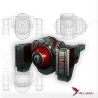3dsmax sci-fi red drone