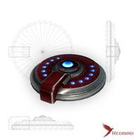 3d sci-fi red model