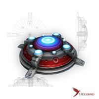 3d model sci-fi red