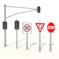 3d max traffic light road signs