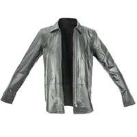 maya black leather shirt