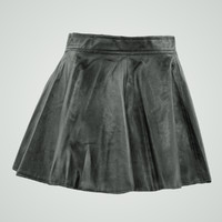 maya shiny black leather skirt