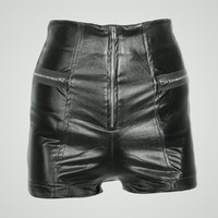 waist black leather shiny 3d obj
