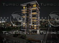 3d model exterior scene rendering night