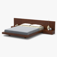 3d model modern bed cherry wood