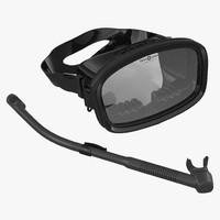 scuba mask snorkel 2 c4d