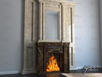 3d model fireplace environment