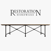 3d model metal flatiron table rust