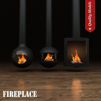 realistic fireplace heating 15 3d model
