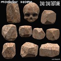 3d stone skull
