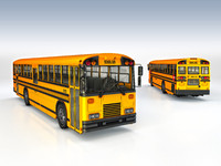 3d yellow school bus