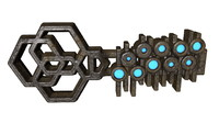 3d glowing metal key model