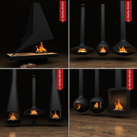 3d realistic fireplace heating model