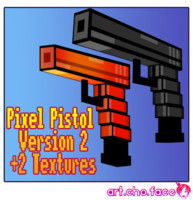 Low Poly Pixel Pistol Gun Version 2