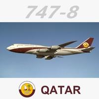 3d boeing 747-8 qatar