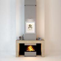 3d stone fireplace modern