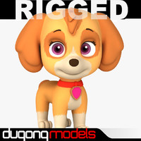 3d model dugm08 rigged cartoon dog