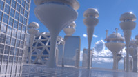 futuristic city 3d obj