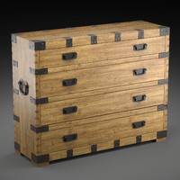 chest vintage antique oak 3d max