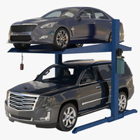3d post parking car lift model