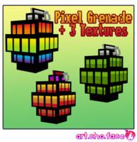 Low Poly Pixel Grenade + 3 Textures