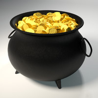 3d model of cauldron gold coins