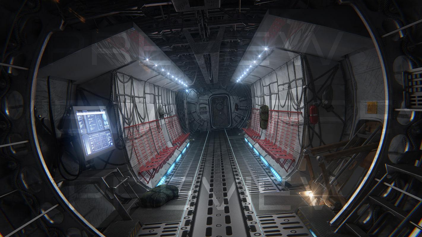 3d model of cargo aircraft interior