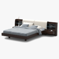 max modern bed walnut wood