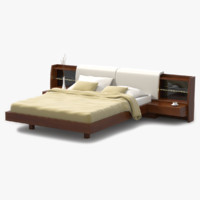 modern bed cherry wood 3ds
