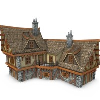 medieval coaching inn buildings 3d obj