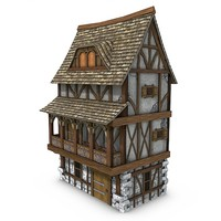 medieval townhouse buildings town 3d obj