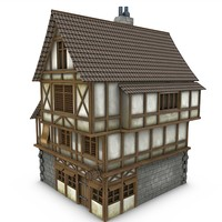 3d model medieval tavern buildings