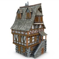 3d obj medieval townhouse buildings town