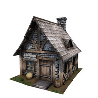 3d medieval cottage buildings model