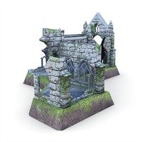 fbx medieval cathedral ruins buildings