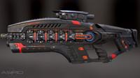 3d futuristic gun